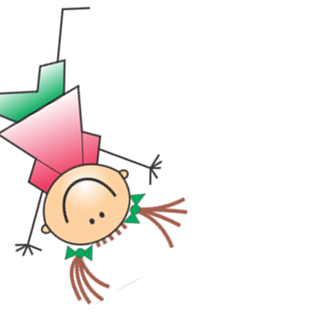 Zeichnung einer springenden Mädchenfigur im Anschnitt für die KITA Karamba in Braunschweig