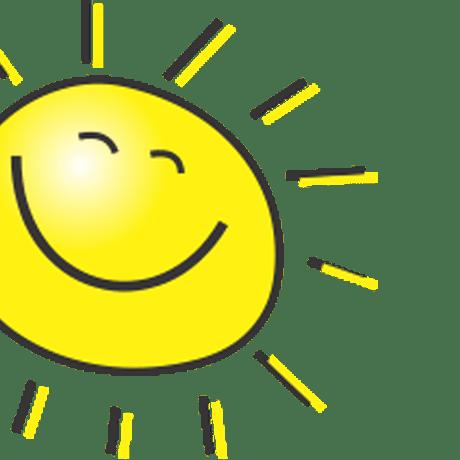 Zeichnung einer lächelnden Sonne im Anschnitt für die KITA Karamba in Braunschweig